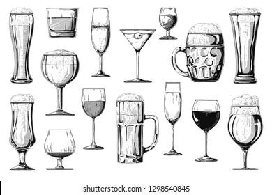 Big set of different alcoholic beverages. Vector