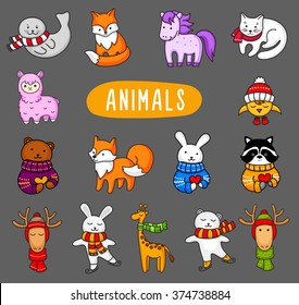 Big set of different animals. A large collection of cute cartoon characters. Colorful vector illustration. Fairy-tale heroes.