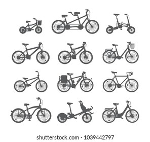 Big set of different bicycles. Silhouette/