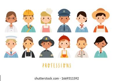 Big set with different children professions. Boys and girls professions. Vector set with children jobs avatars