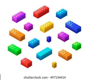 Big set of different colorful lego bricks in isometric view isolated on white