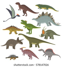 Big set of different dinosaurs in cartoon style. flat vector illustration isolate on a white background