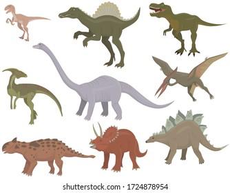 Big set of different dinosaurs. Herbivorous and carnivorous jurassic reptiles.