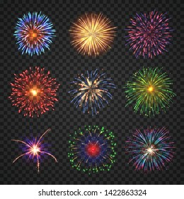Big set of different fireworks with shining sparks. Colorful pyrotechnics show elements. Realistic fireworks celebration isolated on transparent background. Fantastic light performance in night sky.