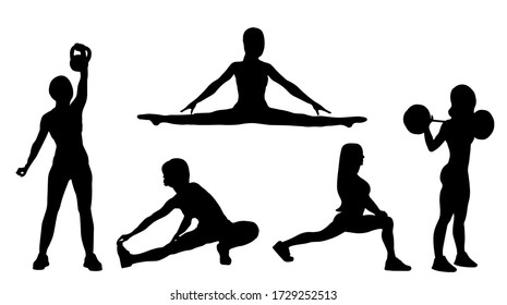 Big set different girls silhouette go in for sports do exercises in the gym