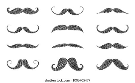 Big set with different hand drawn moustaches. Vector.