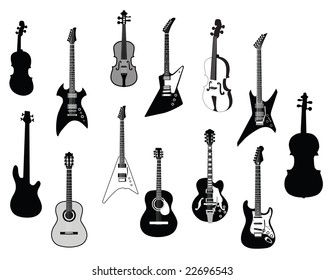 Big Set of Different Kind of Guitars Silhouettes. Acoustic and Electrical Guitars in Different Shapes and Two Violin. High Detail, Very Smooth. Vector Illustration.