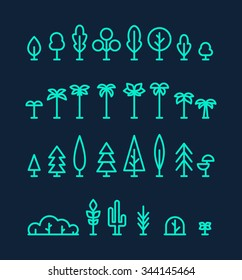Big set of different kinds of trees: palms, pine, spruces, bushes, cactus. Design elements, vector illustration, trendy linear style.