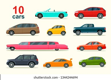 Big set of different models of cars. Vector flat style  illustration