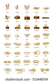 Big set of different sea knots isolated on white