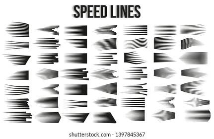 Big set of different simple black speed lines.