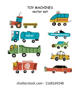 Big set of different toy cars - truck, police, ambulance, fire truck, sports car, taxi and tractor.