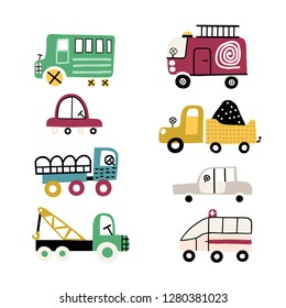 Big set of different toy cars - truck, ambulance, fire truck, bus and sports car. Vector set.