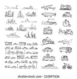 Big set with different transport. Passenger transport. Traffic. Retro transport.  Set with boats.  Isolated  on a white background.