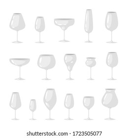 Big set of different types of transparent empty glasses for red, white wine and champagne. Crystal glassware vector illustration for bar, restaurant menu, alcohol card, flyer, poster, web site design