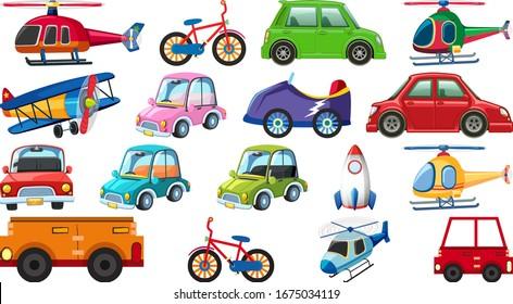 Big set of different types of transportations on white background illustration
