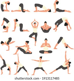 A Big set of different yoga asanas. many pilates poses. Application design
