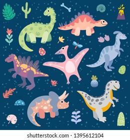 Big set of dinosaurs with decorative elements. Triceratops, t-rex, pteranodon, spinosaurus, stegosaurus, velociraptor, parasaurolophus, brontosaurus. Flowers, leaves, volcano, pineapple, bone.