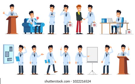 Big set of doctor character in different poses and situations. Flat style vector illustration isolated on white background.