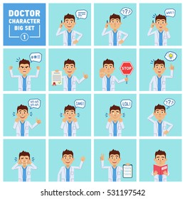 Big set of doctor characters showing different actions. Cheerful doctor talking on the phone, thinking, surprised, holding stop sign, document, book and doing other actions. Flat vector illustration