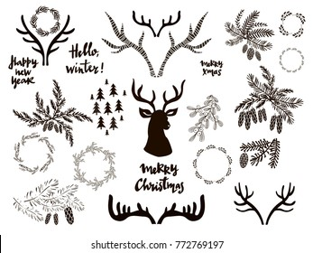 Big set of doodle  christmas elements.  Isolated.Vector illustration.