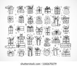 Big set of doodle christmas gift boxes on white background