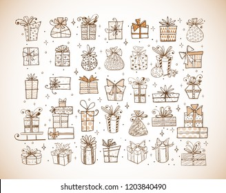 Big set of doodle christmas gift boxes on vintage background