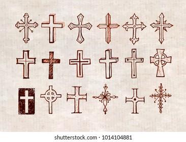 Big set of doodle sketch crosses on vintage background