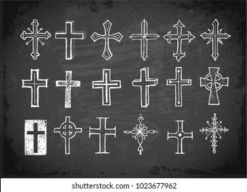 Big set of doodle sketch crosses on blackboard background.