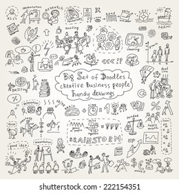 Big set of doodles creative business people icons