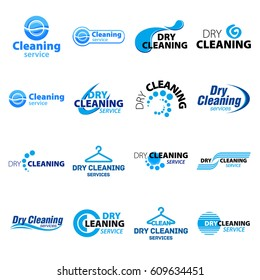 Big set dry cleaning service logo template