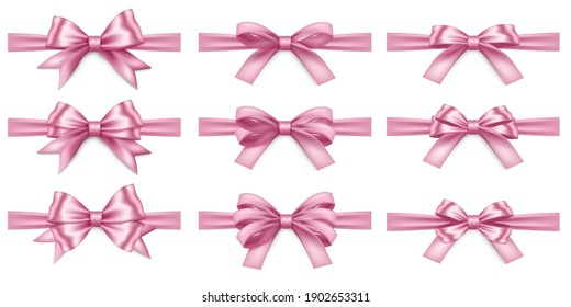 Big set of ealistic pink ribbons and bows on white background. Pink bow for decor isolated. Holiday Decorations. Vector illustration