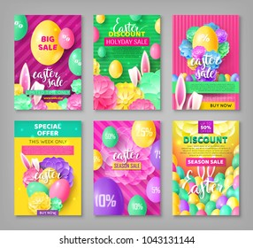 Big set easter coupons. Festive collection of banners for discounts and sales. Vector illustration with color eggs, flowers and easter bunny ears.