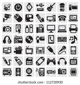 big set of electronic devices on gray