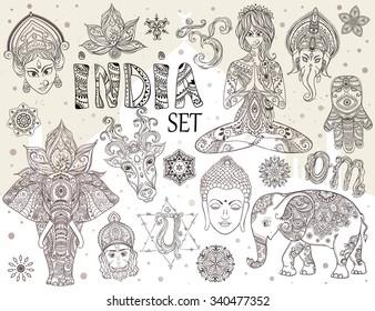Big set with elements of Indian culture. Gods Ganesha, Navratri, Hanuman. Lord Buddha. Lotus, chakras, yoga posses. Ornamental elephant and mandalas. Hamsa for luck. Medallion, yoga, india, arabic
