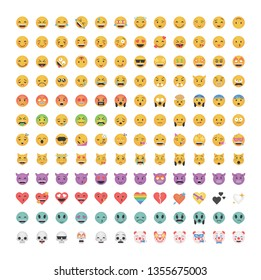 Big set of emoticon vector isolated on white background. Emoji vector. Smile icon collection. Reactions icon web.