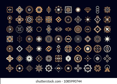 Big set of esoteric design elements. Alchemy, space, spirituality, mysticism, freemasonry, astrology.
