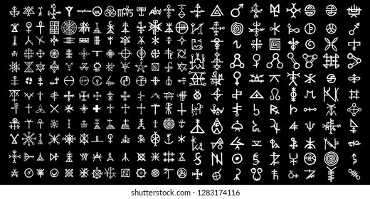 Big set of esoteric symbol and alphabet on the theme of mysticism and magic. Inspired by super natural religion and the occultism. Medieval Masonic imaginary manuscript with letters sketches. Vector.