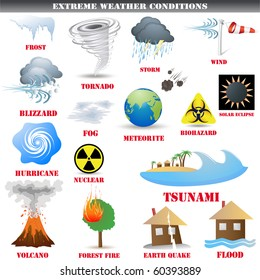 Big Set of Extreme weather conditions vector