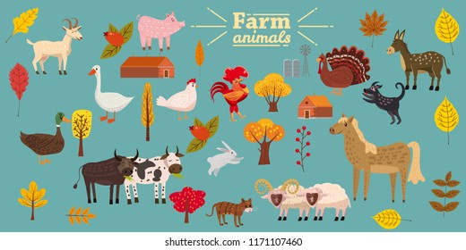 Big set of farm animals, pig, rabbit, cow, bull, cat, dog, goose, duck, turkey, donkey, goat, sheep, ram, modern stylized trees and leaves, autumn, vector, illustration, isolated
