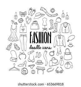 Big set of fashion hand drawn doodle icons. Female clothing and accessories.