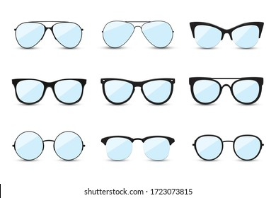 Big set of fashionable blue sunglasses on white background. Black glasses isolated with shadow for your design. Vector illustration.