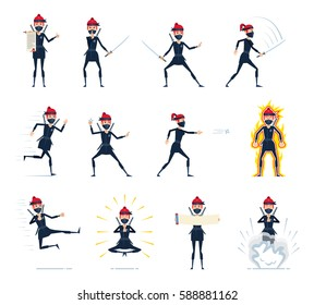 Big set of female ninja characters showing different actions, gestures, emotions. Cheerful ninja running, jumping, meditating, attacking, in rage and doing other actions. Simple vector illustration