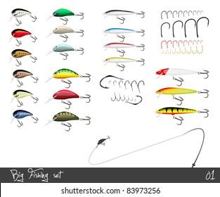 Big set of fishing gear. Vector illustration.