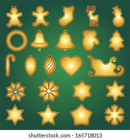 Big set of flat Christmas flat icons. New Year greeting card templates. Happy cookies holidays elements. Vector