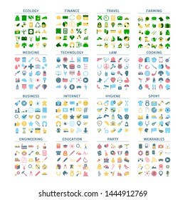 Big set of flat colorful icons. Collection of various symbol design. Education and technology, health and travel. Industrial pictogram. Isolated flat vector illustration