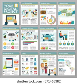 Big set of flat design infographic elements. Creating digital web project, customer service, client support, teamwork cooperation process, marketing vision, idea solution, success business management