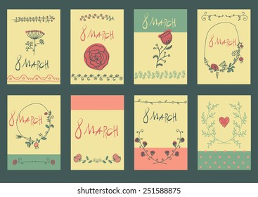 Big set of floral 8March graphic design elements graphic, wreaths, ribbons and labels. for greeting card.