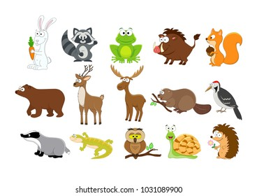 Big set of  forest  animals in a cartoon style. Owl, boar, rabbit, squirrel, hedgehog, snail, elk,woodpescer, frog, deer, bear, beaver. Forest animals collection. Woodland animals.