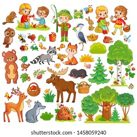 Big set with forest animals and children. Collection on a forest theme with mammals and trees in a cartoon style.